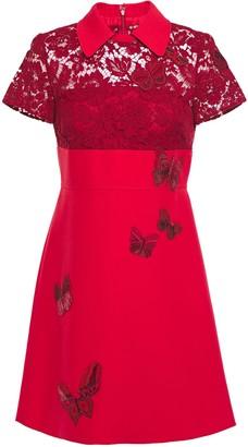 Valentino Corded Lace-paneled Embellished Cady Mini Dress