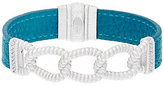 Judith Ripka As Is Sterling Curb Link Teal Leather Bracelet