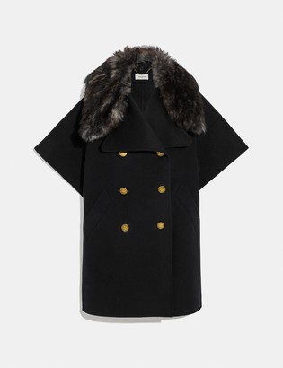 Coach Luxury Wool Cape With Shearling Collar