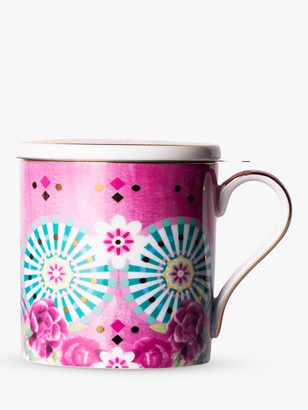 t2 Eleganza Infuser Mug With Lid, 400ml, Flamingo Pink