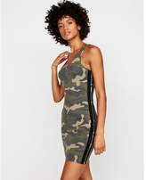 Express side stripe camo tank dress