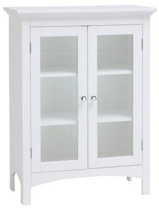 Elegant Home Fashions Denali Floor Cabinet with Two Doors and Adjustable Shelves in White.