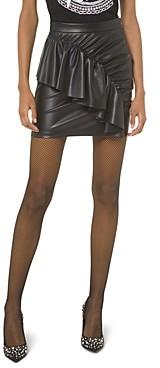 MICHAEL Michael Kors Ruffled & Ruched Faux-Leather Mini Skirt
