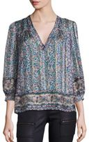 Joie Frazier Floral Printed Silk Jacquard Top