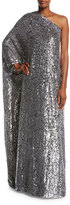 Michael Kors Embellished Floral One-Shoulder Gown, Black