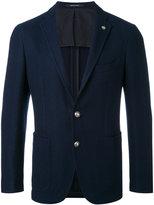 Tagliatore logo pin blazer - men - Cotton/Cupro - 48