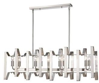 Ebern Designs Kavin 8 - Light Kitchen Island Linear Pendant Finish: Brushed Nickel