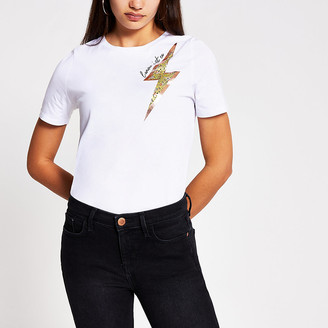 River Island White lighting bolt print T-shirt