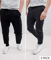 Asos Design Skinny Joggers 2 Pack Black/Charcoal Save