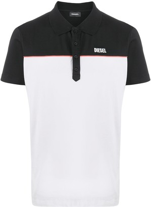 Diesel colour-block short-sleeved polo shirt
