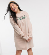 Daisy Street Plus oversized long sleeve t-shirt dress with be kind print
