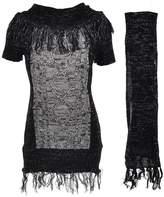 "Dollhouse Big Girls' ""Metallic Fringe"" Sweater Dress with Scarf - , 10-12"