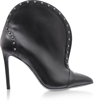 Balmain Iren Black Leather Pointed Toe High Heel Booties w/Studs