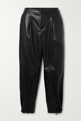 Alice + Olivia Paris Pleated Vegan Leather Tapered Pants - Black
