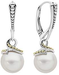 Lagos Sterling Silver & 18K Yellow Gold Luna Cultured Freshwater Pearl Drop Earrings