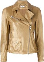 Desa 1972 - asymmetric biker jacket - women - Cotton/Leather - 38