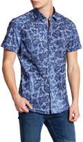 Stone Rose Flocked Paisley Striped Short Sleeve Shirt