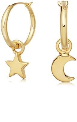 Missoma Gold Mini Star Moon Charm Hoop Earrings