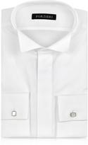 Forzieri White Textured Cotton French Cuff Tuxedo Shirt