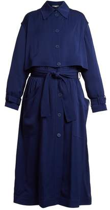 Stella McCartney Caban Elasticated Waist Crepe Trench Coat - Womens - Blue