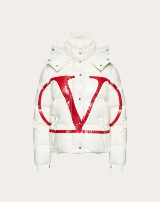 Valentino Moncler Vlogo Lacquered Nylon Padded Jacket Women White/ Red 100% Poliammide 42