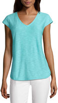 Liz Claiborne Short Sleeve V Neck T-Shirt
