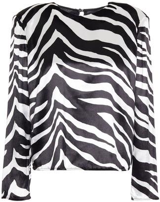 Mason by Michelle Mason Zebra-print Velvet Top