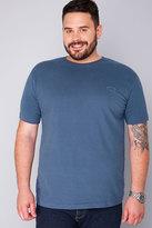 Yours Clothing BadRhino Denim Blue Basic Plain Crew Neck T-Shirt