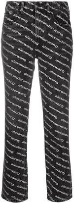 Alexander Wang Mid-Rise Logo-Print Flared Trousers