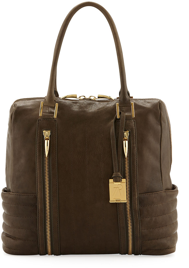 Rachel Zoe Montana Zip Leather Ribbed Tote Bag, Forrest