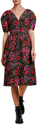 Marni Floral-Print Zip-Front Midi Dress