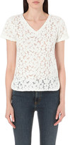 Maje Trompette lace-embroidered cotton-blend top