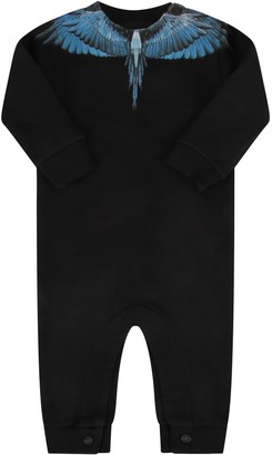 Marcelo Burlon County of Milan Black Babygrow For Baby Boy With Iconic Wings