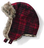 Lands' End Kids Faux Fur Lined Trapper Hat-Ivory Multi Hearts