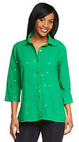 As Is Susan Graver Cotton Lawn Button Front Shirt w/Embroidery