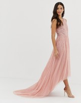 Dolly & Delicious one shoulder embellished high low prom maxi dress in pink