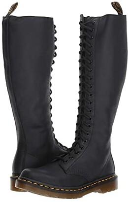 Dr. Martens 1B60 20-Eye Zip Boot (Black Virginia) Women's Boots