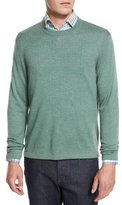 Neiman Marcus Cashmere-Silk Crewneck Sweater, Grass
