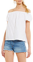 Levi's Off-The-Shoulder Ruffled Poplin Top