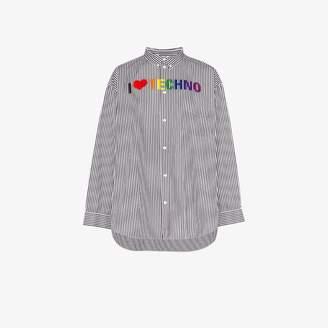 Balenciaga i love techno stripe cotton shirt