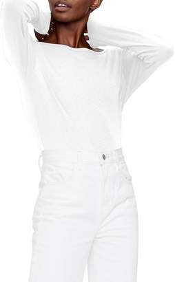 Michael Stars Winona Envelope Neck Long Sleeve Cotton Blend Top