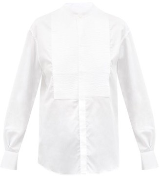 Bourrienne Paris X - Comedienne Viii Stand-collar Cotton Bib Shirt - White