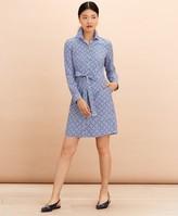 Brooks Brothers Logo-Print Striped Cotton Poplin Shirt Dress