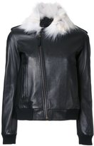 Anthony Vaccarello contrast collar jacket - women - Cotton/Lamb Skin/Acetate - 38