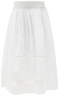 Thierry Colson Verde Smocked Cotton-voile Midi Skirt - White/ivory