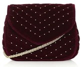 Topshop Embellished Velvet Crossbody Bag - Burgundy
