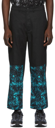 Clot Black and Blue Graphic Cropped Relaxed Trousers