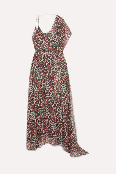 Eywasouls Malibu Alessandra One-shoulder Leopard-print Chiffon Maxi Dress - Red
