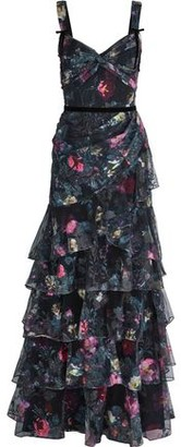 Marchesa Tiered Embroidered Floral-print Tulle Gown