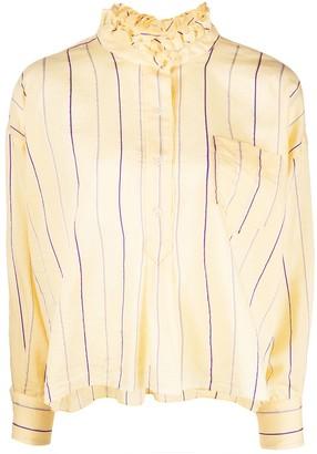 Etoile Isabel Marant Olena striped ruffle-neck shirt